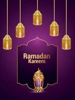 fond d'invitation au festival islamique ramadan kareem vecteur