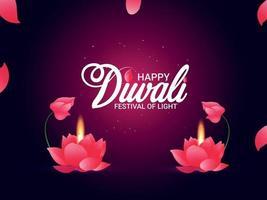 joyeux festival de diwali de lumière illustration vectorielle de diwali diya et et lampe diwali vecteur