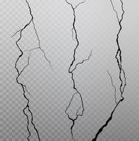 fissures murales sur fond quadrillé transparent. illustration vectorielle. vecteur