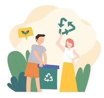 les gens tiennent des bacs de recyclage. illustration vectorielle minimale de style design plat. vecteur