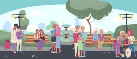 groupe de personnage de dessin animé lgbtq plus avec son amant et sa famille passent du temps avec leur style de vie, promenade lesbienne gay, bisexuelle, homosexuelle, transgenre dans le jardin, temps de bonheur. vecteur