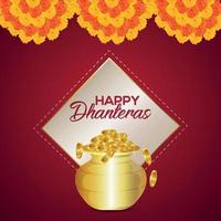 festival indien de joyeux dhanteras invitation carte de voeux avec guirlande de fleurs vecteur