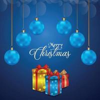 joyeux noël célébration carte de voeux avec des boules créatives sur fond bleu vecteur