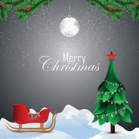 joyeux noël invitation carte de voeux avec arbre de noël vecteur