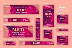 collection de bannières Web de différentes tailles pour les publicités mobiles et les réseaux sociaux vecteur