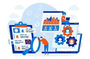 concept de conception de sites Web de gestion des ressources humaines avec des personnages de personnes vecteur