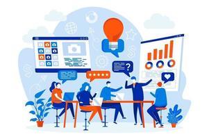 concept de design web de groupe de discussion avec des gens vecteur