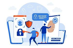 conception de sites Web de contrôle d'accès biométrique avec des personnages de personnes vecteur
