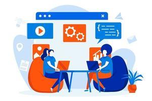 concept web de travail indépendant avec des personnages de personnes vecteur
