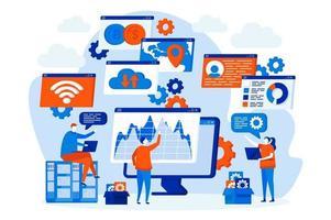 concept de gestion du cyberespace avec des personnes vecteur