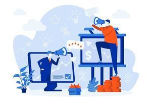 conception de concept web marketing sortant avec des personnes vecteur