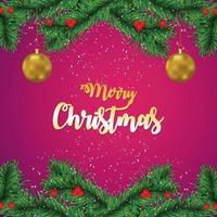 carte de voeux de fête de Noël avec des branches et des boules dorées vecteur