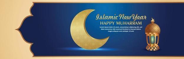 nouvel an islamique ou joyeux muharram avec lune dorée et lanterne vecteur
