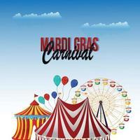 mardi gras ou fond d'invitation de carnaval avec maison de tente de cirque créative et fête foraine vecteur