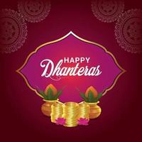 Carte de voeux de célébration de dhanteras heureux avec des pièces d'or de vecteur créatif