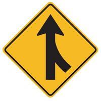 Panneaux d'avertissement fusionnant la surveillance du trafic pour les voitures de la droite vecteur