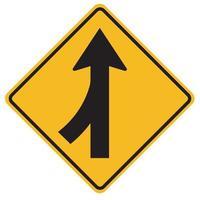 Panneaux d'avertissement fusionnant la surveillance du trafic pour les voitures de la gauche vecteur
