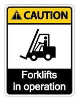 Attention chariots élévateurs en opération signe sur fond blanc vecteur