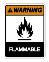 Signe de symbole inflammable d'avertissement sur fond blanc vecteur