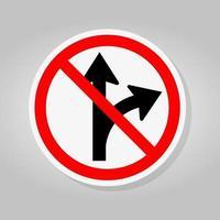 interdire de continuer tout droit ou de tourner à droite panneau routier vecteur