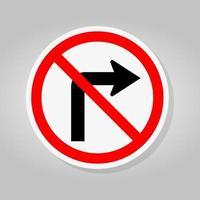 Ne tournez pas à droite panneau de signalisation routière vecteur
