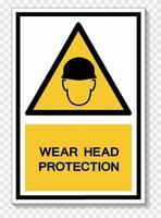 porter le signe de symbole de protection de la tête vecteur