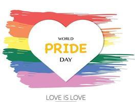 couleur de pinceau de la journée mondiale de la fierté et papier coeur vecteur