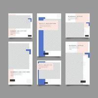 modèle de publication et d'histoires sur les médias sociaux de la collection d'été numérique vecteur