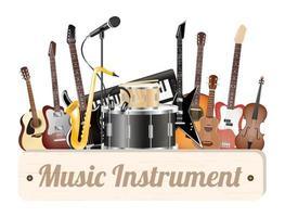 planche de bois d'instrument de musique avec guita acoustique électrique, basse, tambour, violon caisse claire, ukulélé, saxophone, clavier, microphone et casque vecteur