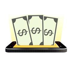 smartphone avec billets en argent vecteur