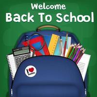 sac à dos étudiant, promotion de la rentrée des classes vecteur
