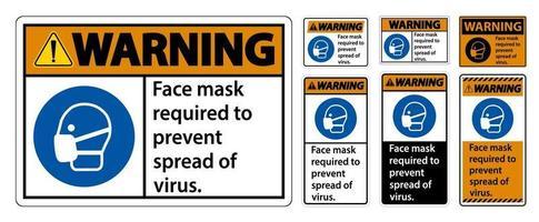 Masque d'avertissement nécessaire pour empêcher la propagation du signe de virus sur fond blanc vecteur