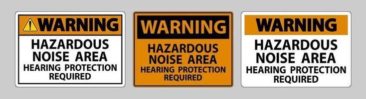 Panneau d'avertissement zone de bruit dangereux protection auditive requise vecteur