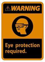 Panneau d'avertissement protection des yeux symbole requis isoler sur fond blanc vecteur