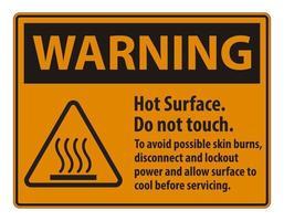 surface chaude ne pas toucher pour éviter d'éventuelles brûlures cutanées débrancher et verrouiller l'alimentation et laisser la surface refroidir avant de réparer le symbole vecteur