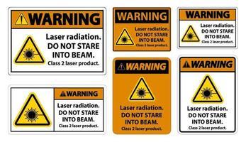 Avertissement de rayonnement laser ne regardez pas dans le faisceau laser de classe 2 signe de produit sur fond blanc vecteur