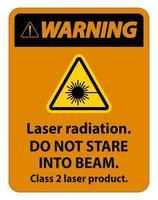 Avertissement de rayonnement laser ne pas regarder le panneau de produit laser de classe 2 vecteur