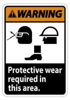 panneau d'avertissement un port de protection est requis dans cette zone avec des lunettes, un casque et un symbole de bottes vecteur