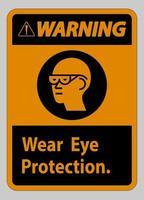 panneau d'avertissement porter une protection oculaire sur fond blanc vecteur