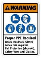 panneau d'avertissement ppe approprié bottes requises gants casques lorsque la tâche nécessite une protection antichute avec symboles ppe vecteur