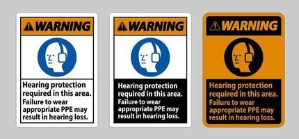 panneau d'avertissement protection auditive requise dans ce domaine le non-port de l'EPI approprié peut entraîner une perte auditive vecteur
