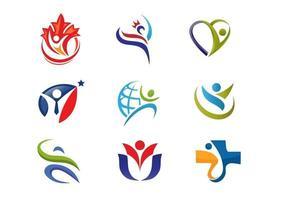 ensemble de logo de remise en forme abstraite moderne simple vecteur