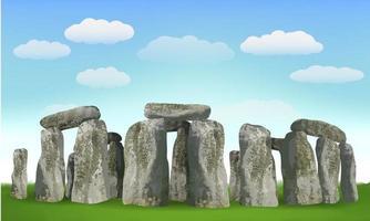 Monument anglais de Stonehenge sur terrain avec ciel vecteur