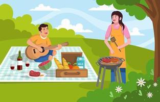 couple heureux ayant pique-nique dans le parc vecteur