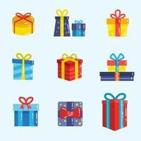 collection d & # 39; icônes de boîte cadeau vecteur