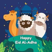 joyeuse célébration eid al-adha mubarak vecteur