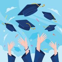 mains jetant des chapeaux de graduation en l & # 39; air vecteur