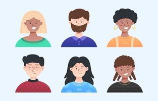 personnes dans un ensemble d & # 39; avatar de diversité vecteur