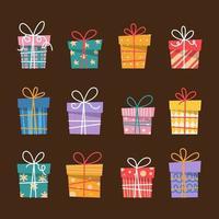 Élément de boîte-cadeau coloré au design plat vecteur