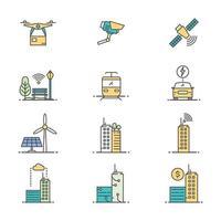 collection d'icônes de ville intelligente vecteur